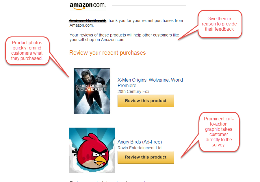 ecommerce email campaign - product review - Amazon