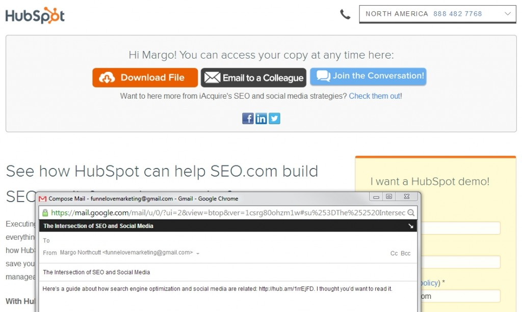 HubSpot thank you page example